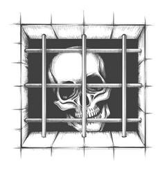 jail skull tattoo vector image