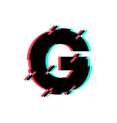 Logo letter g glitch distortion diagonal vector