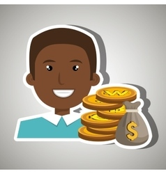 Man with bag coins isolated icon design vector