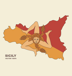 map of sicily in sicily flag colors vector image