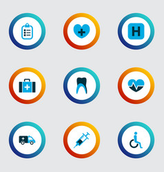 medicine icons colored set with handicapped vector image