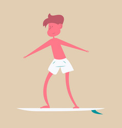 Men in shorts with surfboard happy guy on beach vector