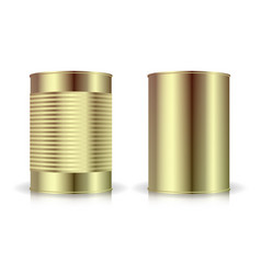 Metallic cans set gold tin can blank vector