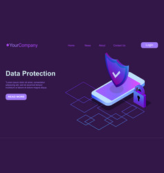 Mobile security modern concept smart app protects vector