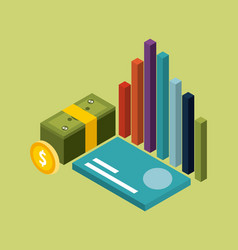 money isometric stacked banknote coin card and vector image