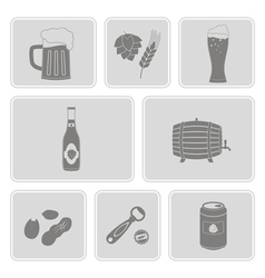 monochrome set with beer icons vector image