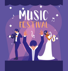 Music festival poster with orchestra conductor vector