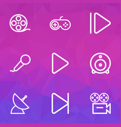 Music icons line style set with joystick camera vector