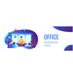 Office meditation booth concept banner header vector