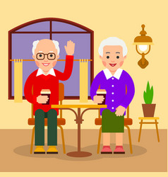 old people drinking coffee in cafe aged man and vector image