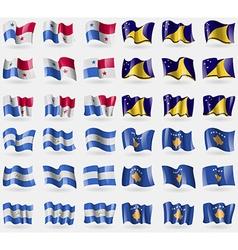 Panama Tokelau Nicaragua Kosovo Set of 36 flags of vector
