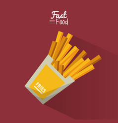 Poster fast food in purple background with fries vector