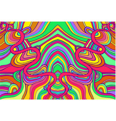 psychedelic colorful surreal doodle waves pattern vector image