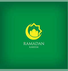 Ramadan kareem with mosque dome and crescent moon vector