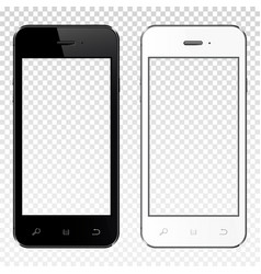 realistic smartphones with transparent screen vector image