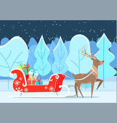 reindeer with presents in sleigh in park vector image