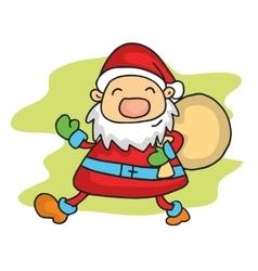 Santa with gift bag vector