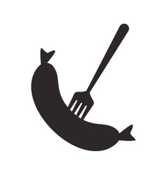 sausage and fork icon vector image