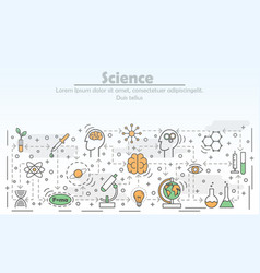 Science advertising flat line art vector