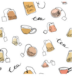 seamless pattern tea bags and cups vector image