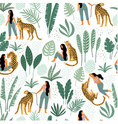 Seamless pattern with women leopards and vector