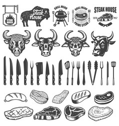 set bbq and grill labels and design elements vector image