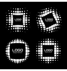 Set of Abstract White Halftone Logo Design Element vector image