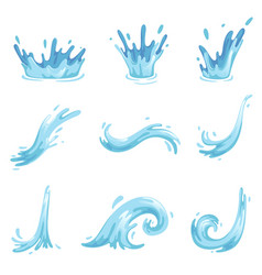 Set of blue waves and water splashes wavy symbols vector