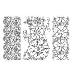 Set vertical seamless pattern floral borders vector