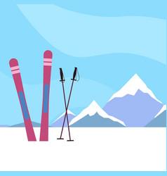Ski resort flat ski on a background vector
