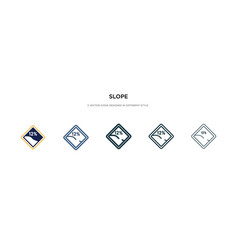 Slope icon in different style two colored and vector