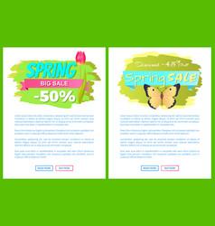 spring big sale 50 45 off advertisement labels set vector image