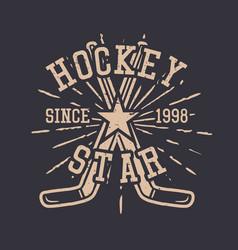 t shirt design hockey star with hockey stick vector image