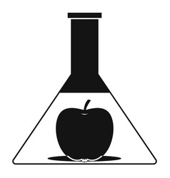 Test flask with apple icon simple style vector