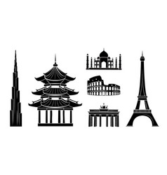 Travel stickers with sights dark silhouettes set vector