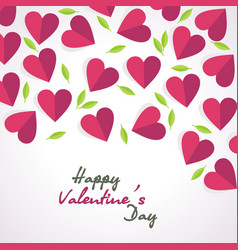 Valentines day card background with red hearts vector