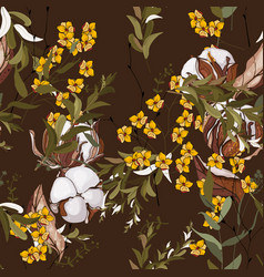 wallpaper botanical with hand drawn flowers vector image