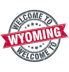 Welcome to Wyoming red round vintage stamp vector