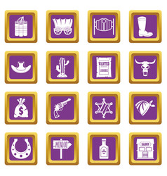 Wild west icons set purple vector