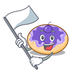 With flag donut blueberry mascot cartoon vector