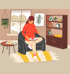 Woman sewing girl with embroidery hoop vector