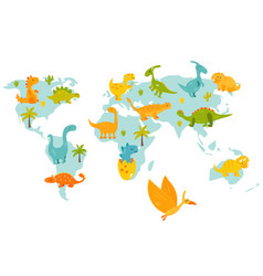World map with cute cartoon dinos vector