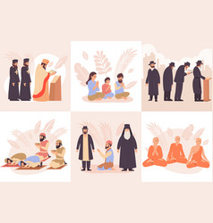 world religions composition flat icon set vector image