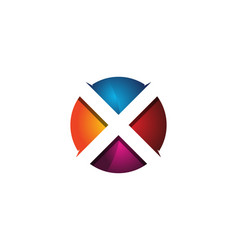 x 3d colorful circle letter logo icon design vector image