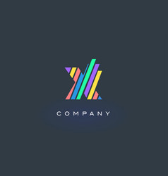 x letter logo with colorful lines design rainbow vector image