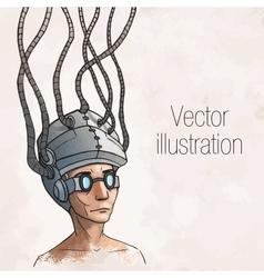 Man wearing a brain-control helmet Digital vector image vector image