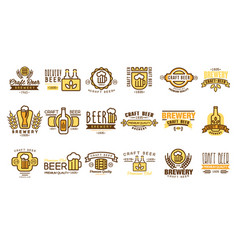 set of vintage beer logos templates vector image vector image