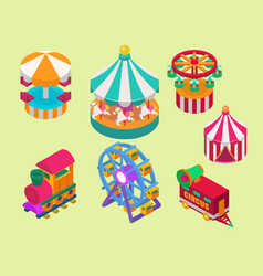 circus isometric show entertainment tent marquee vector image vector image