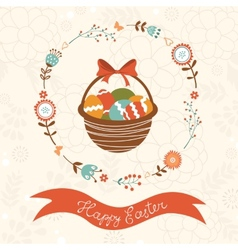 Cute Easter card with basket vector image
