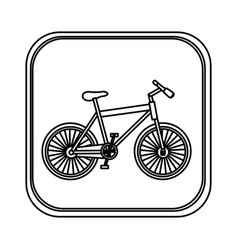 Monochrome rounded square with bicycle vector